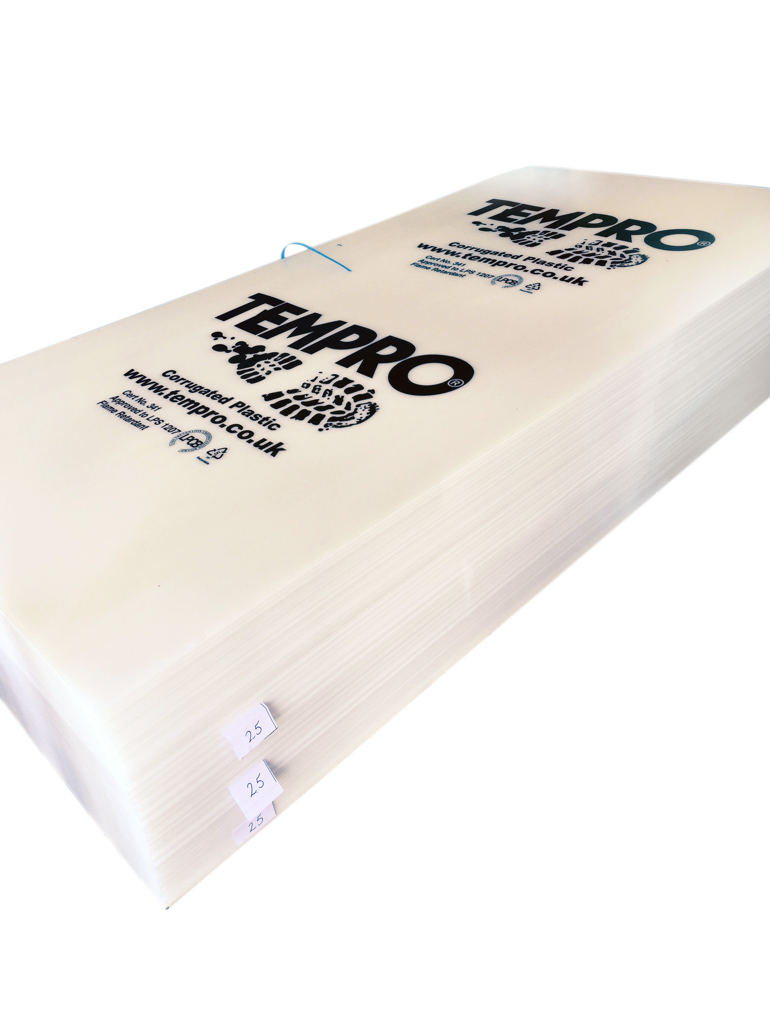 Correx (corex) Corrugated Plastic Sheet Fire Retardant 1.2M x 2.4M x 250gsm (approx 2mm) White