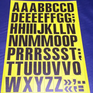 Sheet of Magnetic Letters 43mm Black on Yellow