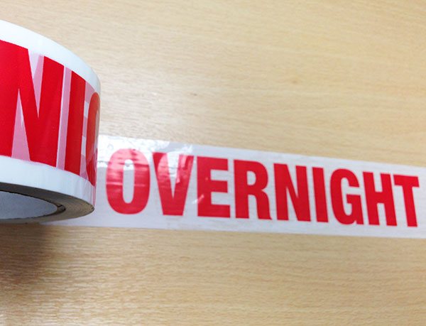 SPECIAL OFFER!  Overnight Printed Parcel Tape 48mm x 66m