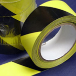 PVC Hazard Warning Tape Adhesive Black & Yellow 25mm x 33m
